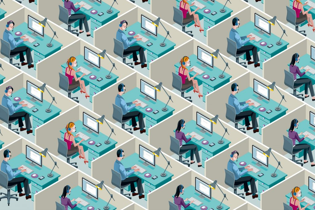 illustration of office cubicles in a grid with no space and no plants