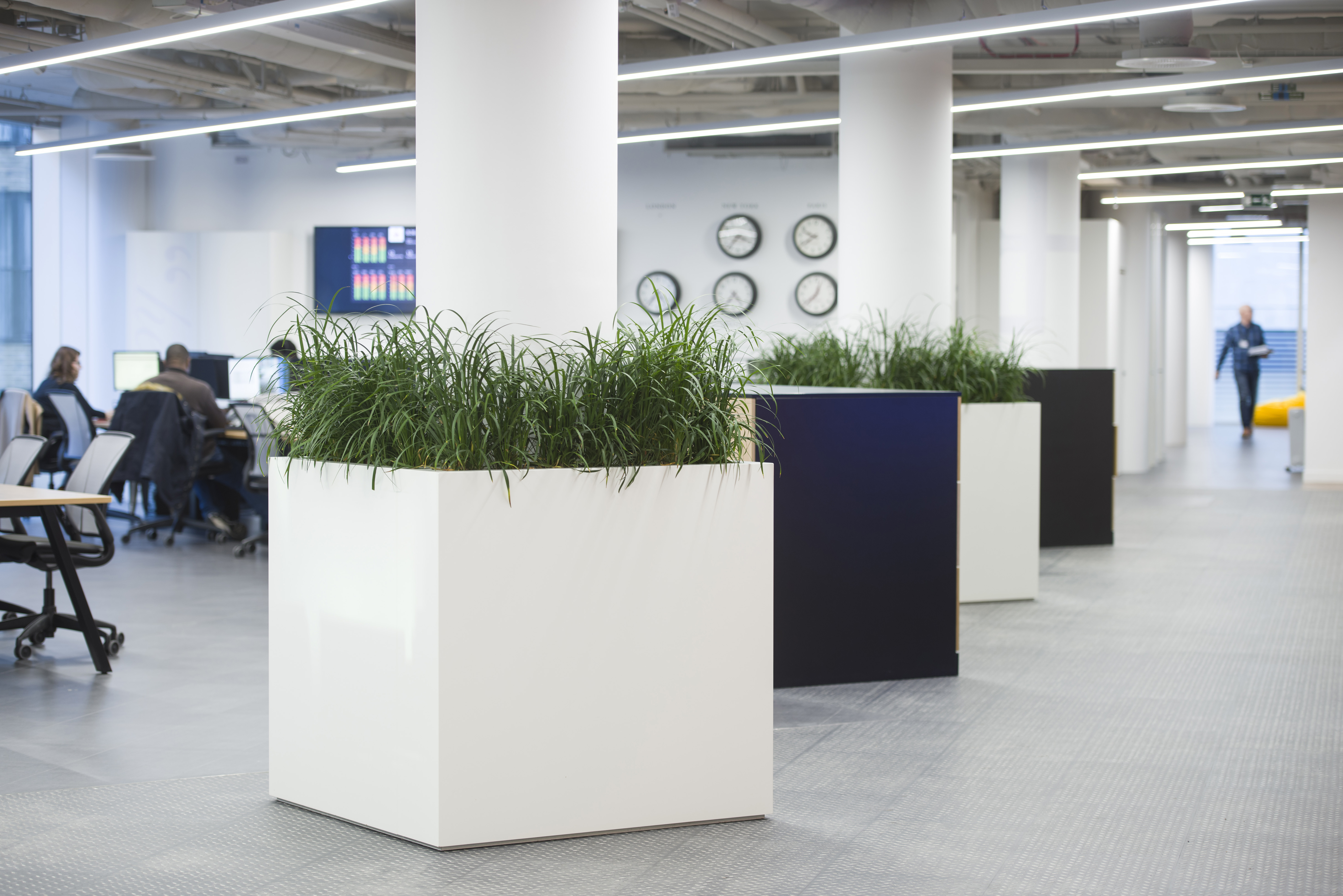 white and black office planters