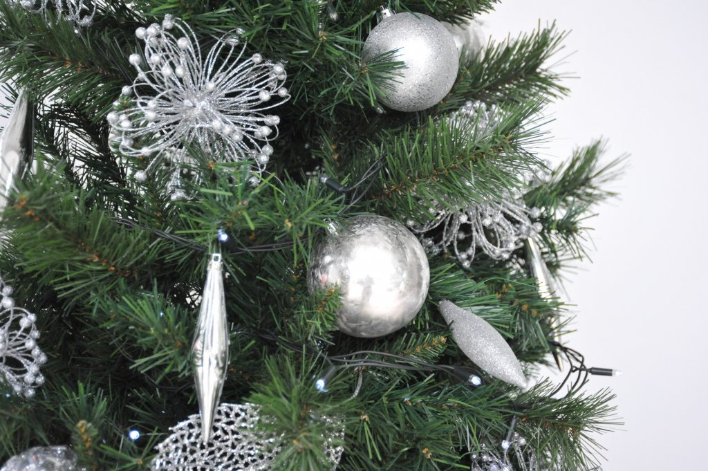 Close up of Christmas Tree with silver decorations
