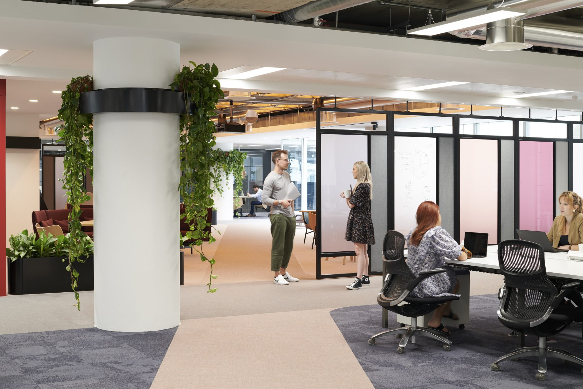 office area with plants