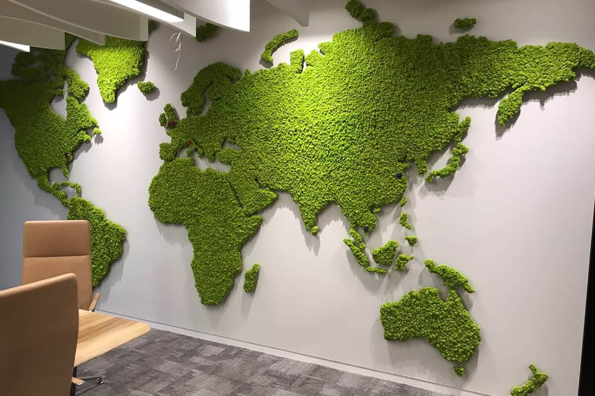 interior moss wall in the shapes of the continents across the world