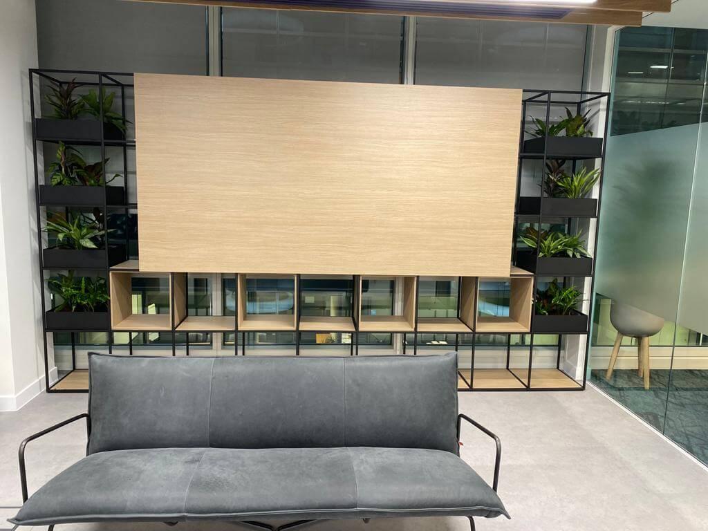storage unit with plants