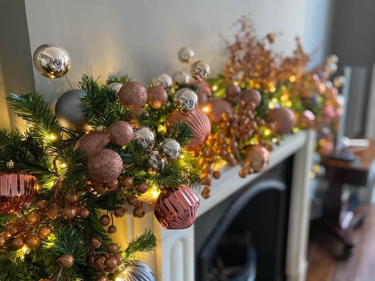 christmas decor above fireplace